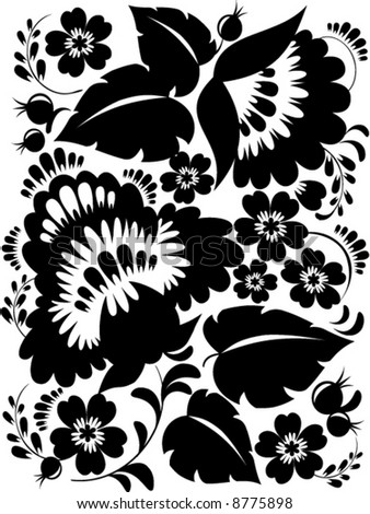 simple flower patterns black and white. stock vector : lack and white