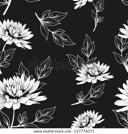 black and white floral seamless pattern with hand drawn flowers. monochrome vector background
