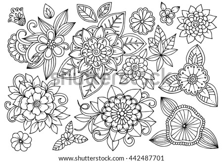 Black And White Floral Set Doodle Flower Drawing Art Therapy Coloring Page Relaxing