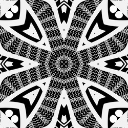 Black and white floral vector seamless pattern. Geometric grid background. Lace repeat backdrop. Greek key meanders tribal ornaments. Modern design with abstract flowers, shapes, lines, polka dots.