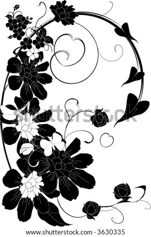 black flower wallpaper. lack and white floral