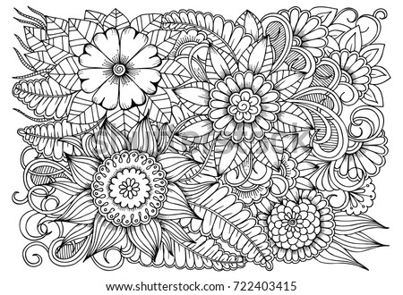 Black And White Flower Pattern For Adult Coloring Book Doodle Floral Drawing Art Therapy