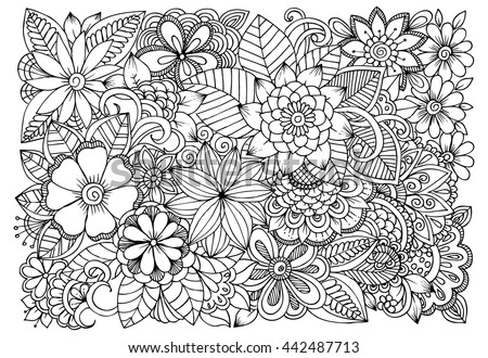 Black And White Flower Pattern For Coloring Doodle Floral Drawing Art Therapy Page