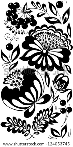 black-and-white flowers, leaves and berries. Background painted in the old style - stock vector