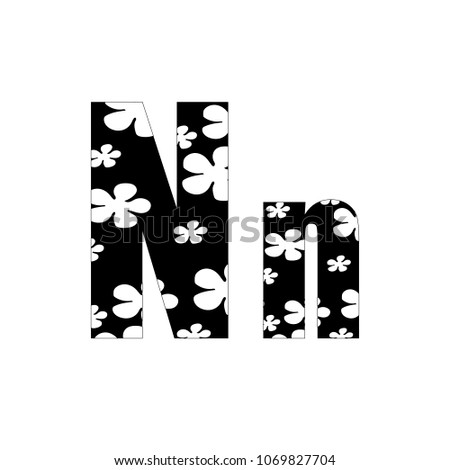 black and white flowers letter