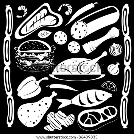 Black and white food pattern - stock vector