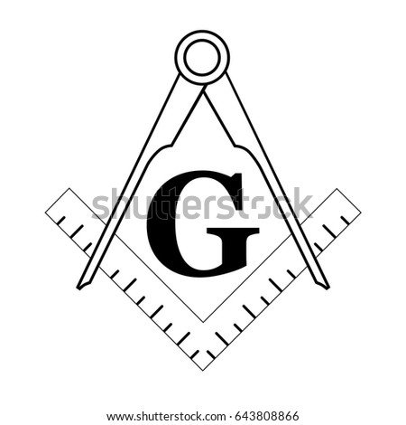 black and white freemason symbol. Filled with white color