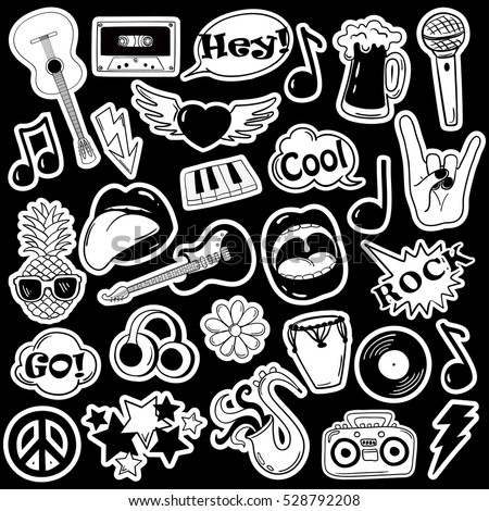 Black and white fun set of music stickers, icons, emoji, pins or patches in cartoon 80s-90s comic style.