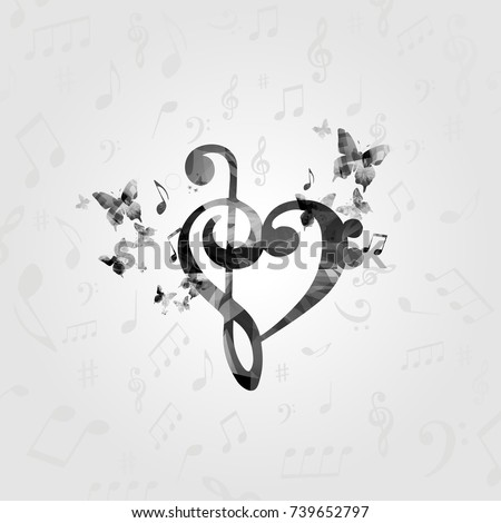 black and white g clef heart