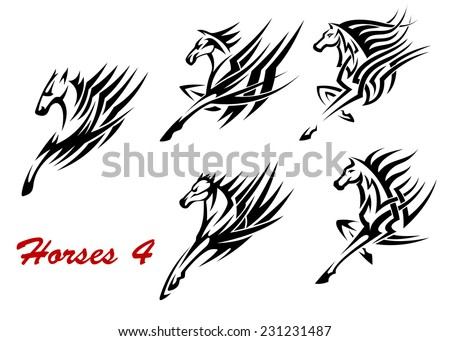 black and white galloping