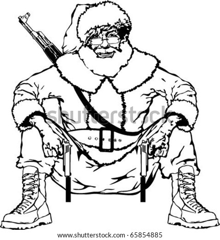 Black And White Gangsta Santa Vector Drawing