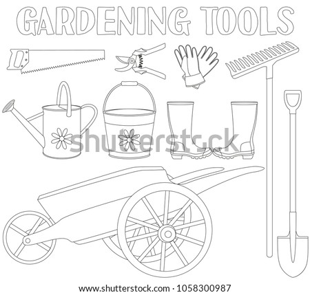 Black And White Garden Tool Set 9 Elements Coloring Book Page For Adults Kids