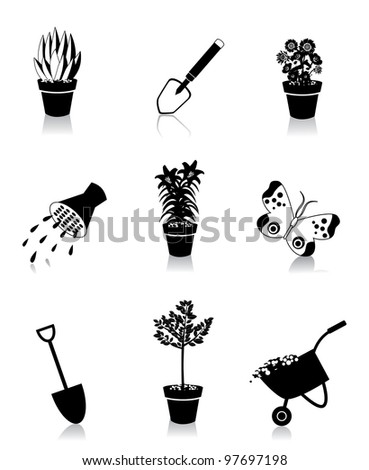 Black and White Gardening Icons Symbol Set EPS 8 vector, grouped for easy editing. No open shapes or paths.