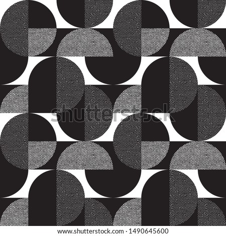 Black and white geometric forms textured seamless pattern. Laconic shapes modern repeatable motif for background, wrap, fabric, carpet, textile, wrap, surface, web and print design.