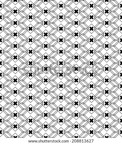 Black and white geometric seamless pattern with line and round corner rectangle, eps10, vector.