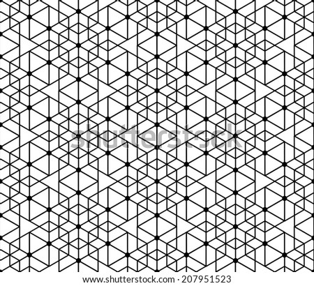 Black and white geometric seamless pattern with line, hexagon, triangle and circle, eps10, vector.