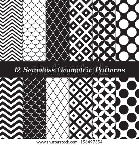 stock-vector-black-and-white-geometric-seamless-patterns-retro-mod-backgrounds-in-chevron-polka-dot-diamond