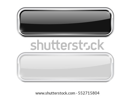 Black and white glass buttons with metal frame. Vector 3d illustration isolated on white background.