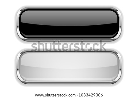 Black and white glass buttons with metal frame. Vector illustration isolated on white background