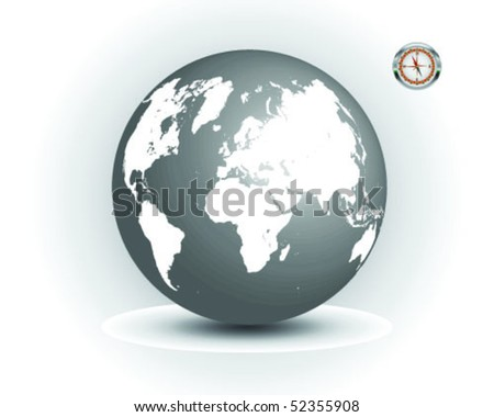 Black And White Globe Clip Art. stock vector : Black and white
