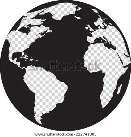black and white globe with