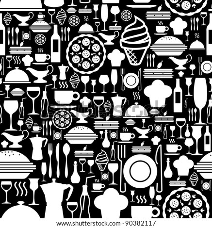 Black and white gourmet icon set seamless pattern background. Vector file available.