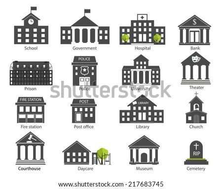 Black and white government buildings icons set in flat design style, vector illustration. Includes school, hospital building, police, fire station, courthouse, daycare, university etc.