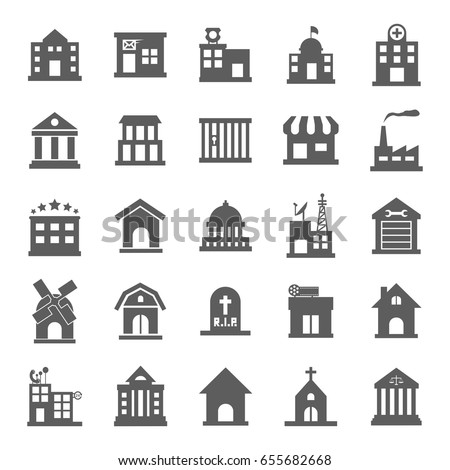 Black and white government buildings icons set in flat design style, vector illustration. Includes school, hospital building, police, fire station, courthouse, daycare building, university etc.