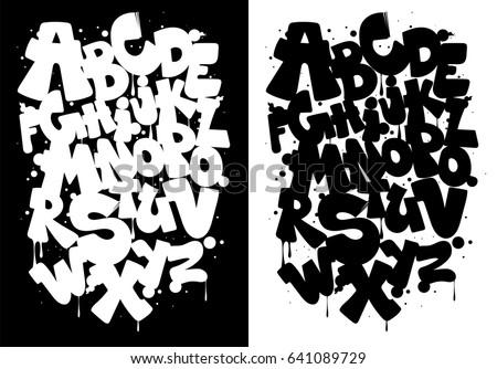 Black and white graffiti alphabet, font vector