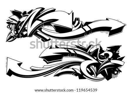 Black and white graffiti backgrounds. Horizontal graffiti banners. Vector illustration.