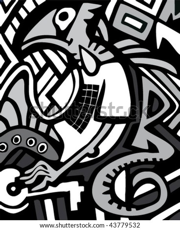 Black and white graffiti sketch with dragon - stock vector