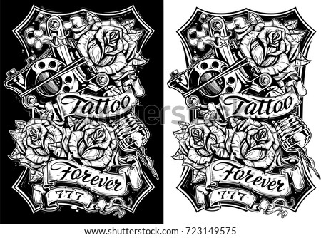 Black and white graphic detailed tattoo machine and roses with ribbons. T-shirt and poster design. Vector set Vol. 2
