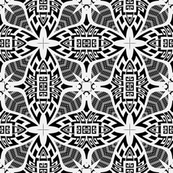 Black and white greek vector seamless pattern. Geometric ancient grid background. Lace repeat backdrop. Greek key meanders tribal ornaments. Floral modern design with abstract flowers, shapes, lines.