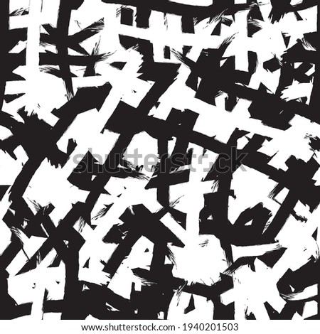 Black and white grunge background seamless. Abstract repeating monochrome texture. Vector chaotic pattern Foto d'archivio ©