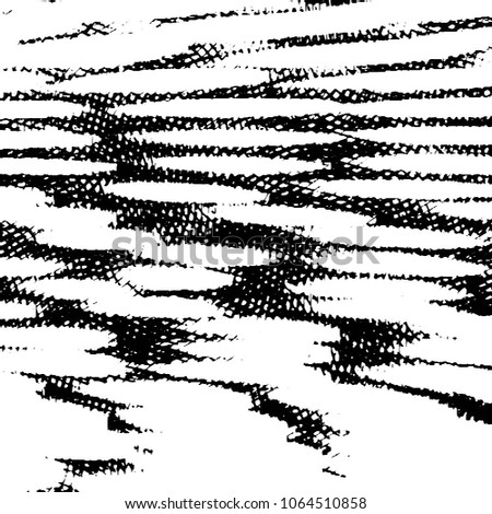 Black and white grunge stripe line vector background. Abstract halftone illustration background. Grunge grid background pattern  #1064510858