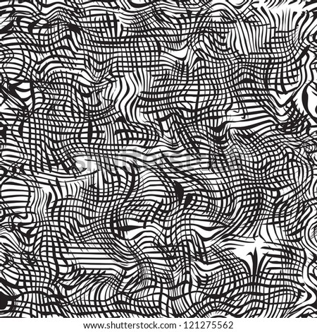 Black and white grunge striped wavy seamless pattern