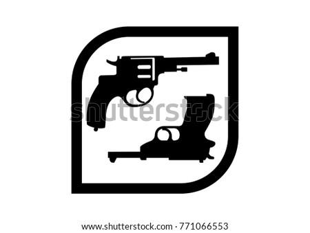 black and white gun logo