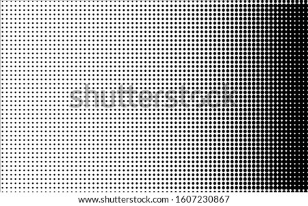 Black and white halftone background. Contrast vector half tone. Retro comic effect overlay. Rough dotted gradient. Dot pattern on transparent backdrop. Shading halftone texture for graphic design
