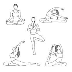 black and white hand drawn illustration design yoga pose set premium vector