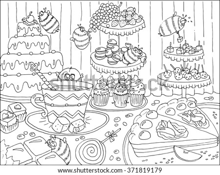 Food And Celebration Theme Page For Coloring Book Adults Kids
