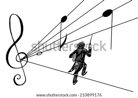 Black-and-white hand drawn vector illustration of a conductor wading through lines of note stuff in a hurry