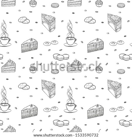 Black and white Hand drawn vector seamless pattern with piece of cake, macaroon, biscuit, cupcake and cup of tea or coffee. For wrapping paper, wallpapers at cafe, coffee shop, bakery or confectionery