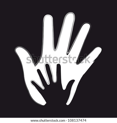 black and white  hands with grunge edge. vector illustration