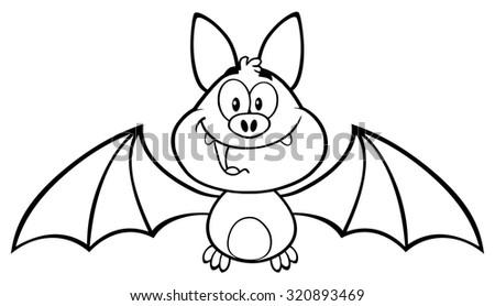 Black And White Happy Vampire Bat Cartoon Character Flying ...