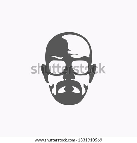 Black and white head of a man with glasses. Vector illustration. EPS 10.