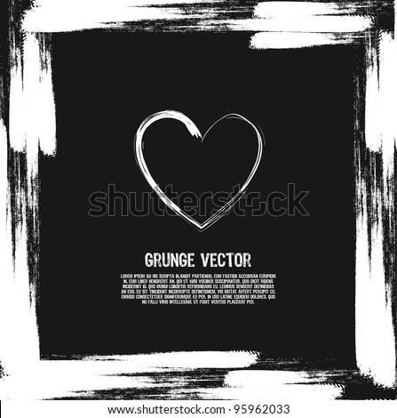 black and white heart grunge card. vector illustration