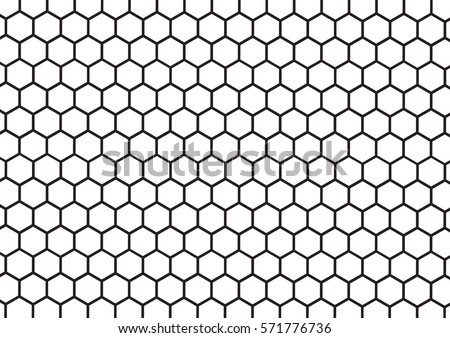 Black and white hexagon honeycomb pattern background