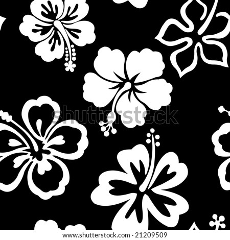 Black and white hibiscus seamless tile pattern.