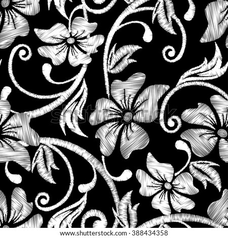 Black and white hibiscus tropical embroidery floral seamless pattern .