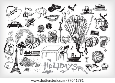 Black and White Holiday Elements (vector)